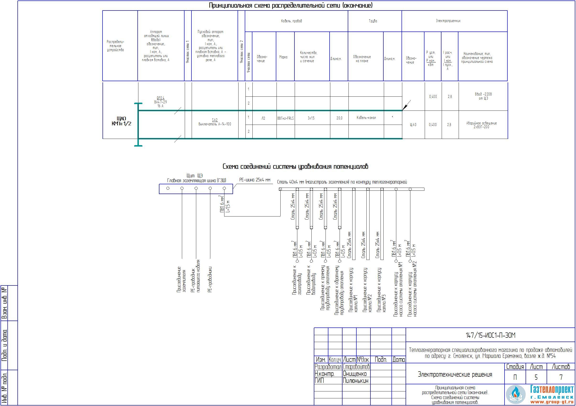 Схема принципиальная распределительной сети форма 3